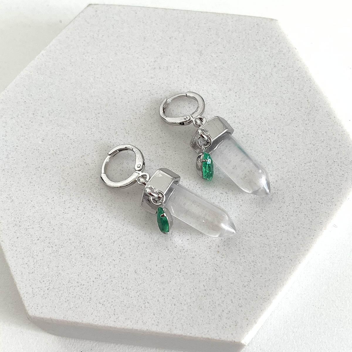 Brinco de Bijuteria Argola com Pingente Ponta de Cristal e Pedra Verde Prateado