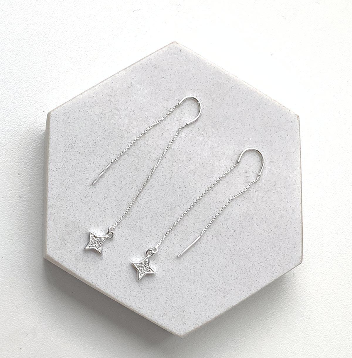 Brinco de Prata Pêndulo Estrelinha