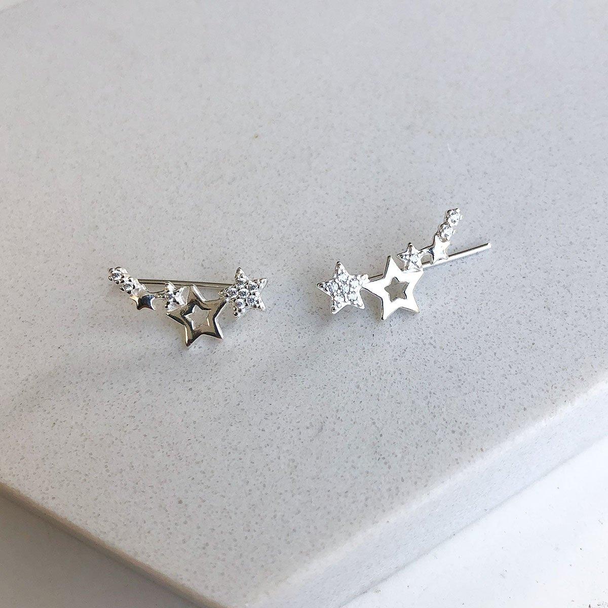 Brinco Ear cuff Estrelas com Zircônias em Prata 925