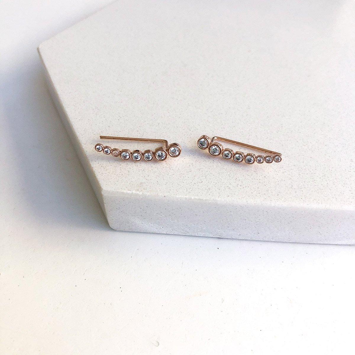 Brinco Ear cuff Pontos de Luz em Prata Banhado a Rosê