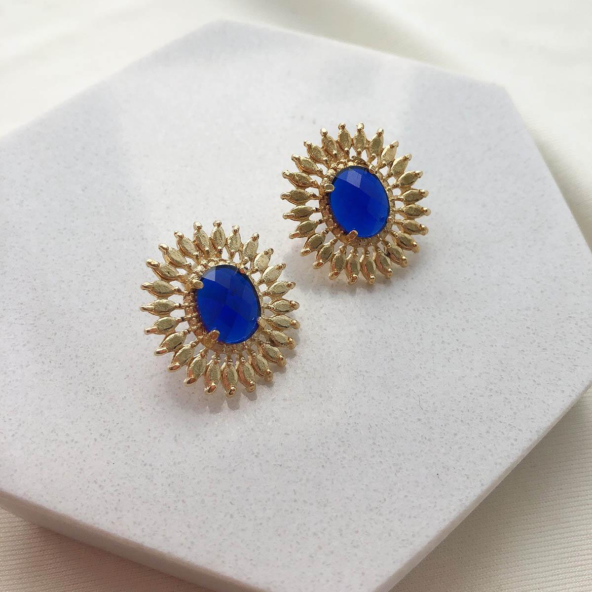 Brinco Folheado a Ouro 18K Flor com Pedra Azul