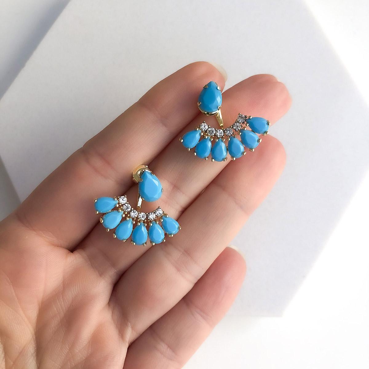 Brinco Folheado a Ouro 18K Leque Pedra Azul com Zircônias