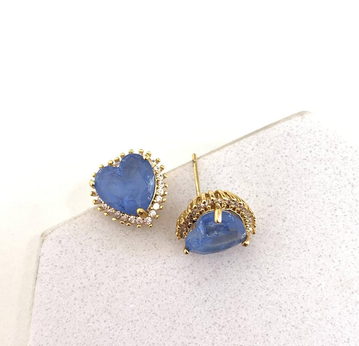 Brinco Folheado a Ouro 18k Pedra Azul Coração Zircônias