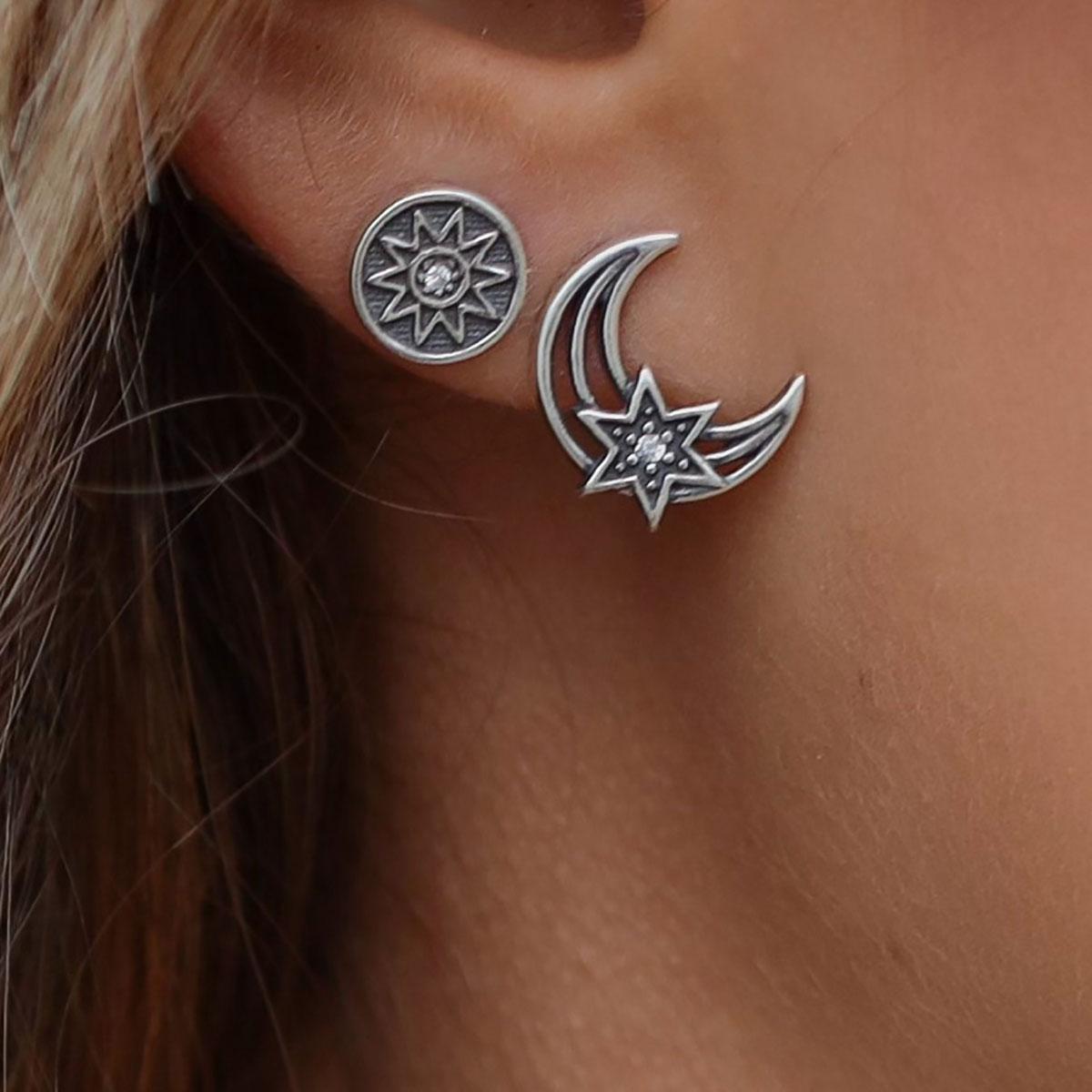 Brinco Prata Boho Lua Detalhe Estrela Zircônia