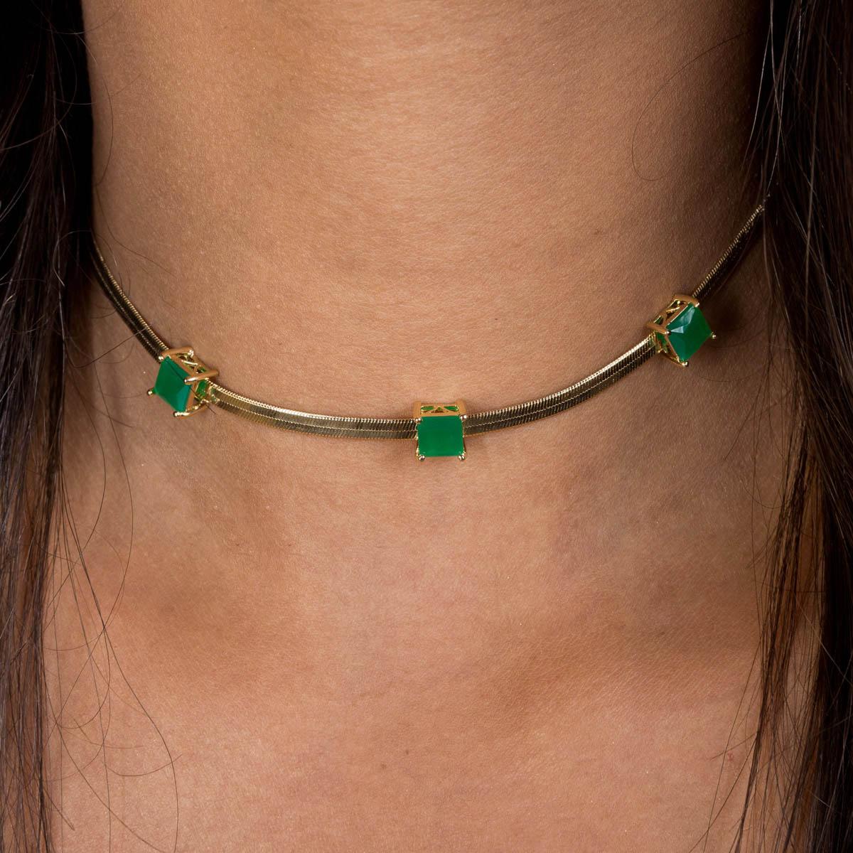 Colar Banhado a Ouro 18k Chocker Pedra Verde Quadrada