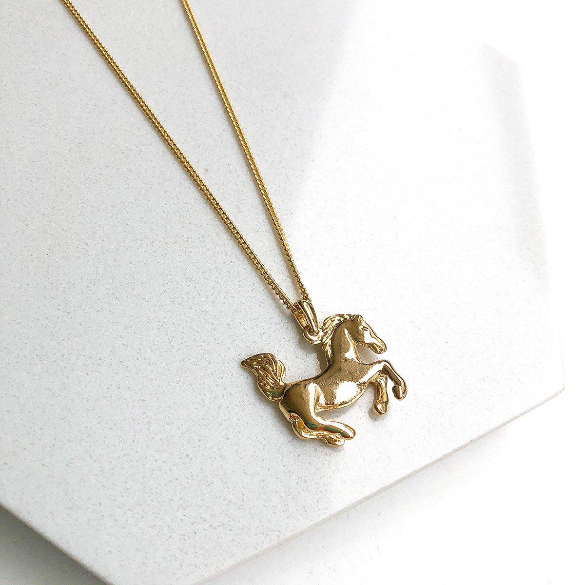 Colar Banhado a Ouro 18k com Pingente Cavalo