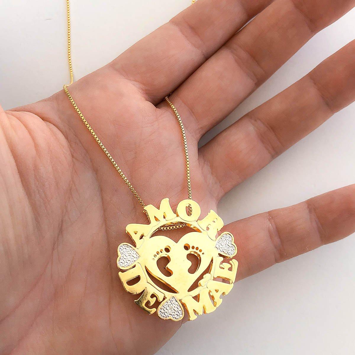 Colar Banhado a Ouro 18k com Pingente Mandala Amor de Mãe