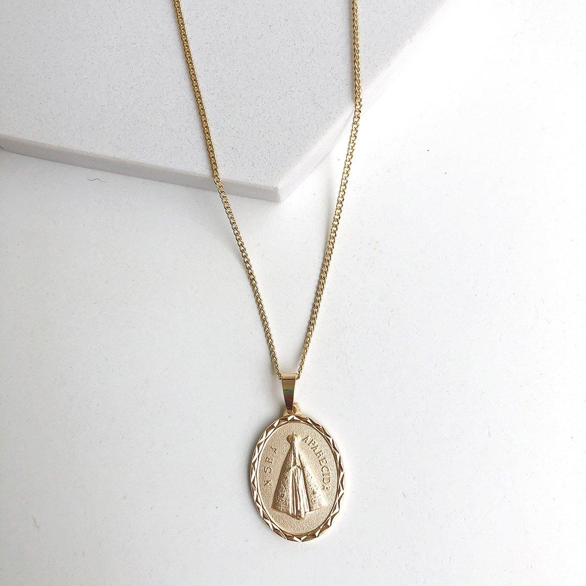 Colar Banhado a Ouro 18k com Pingente Medalha Fosca Nossa Senhora Aparecida