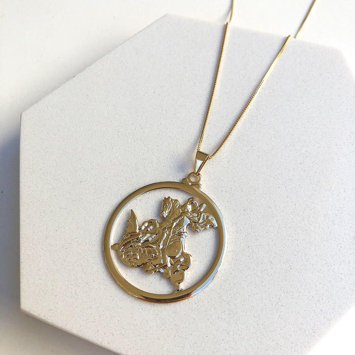 Colar Banhado a Ouro 18k com Pingente Medalha São Jorge