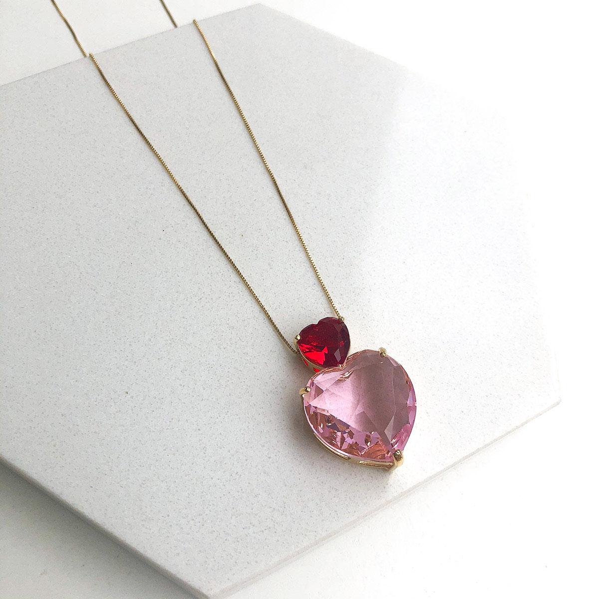 Colar Banhado a Ouro 18k Coroa de Coração Vermelho com Coração Rosa