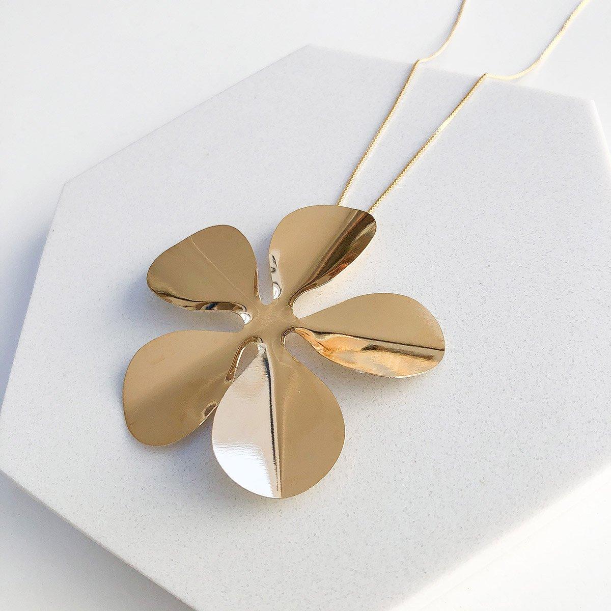 Colar Banhado a Ouro 18k Longo Flor