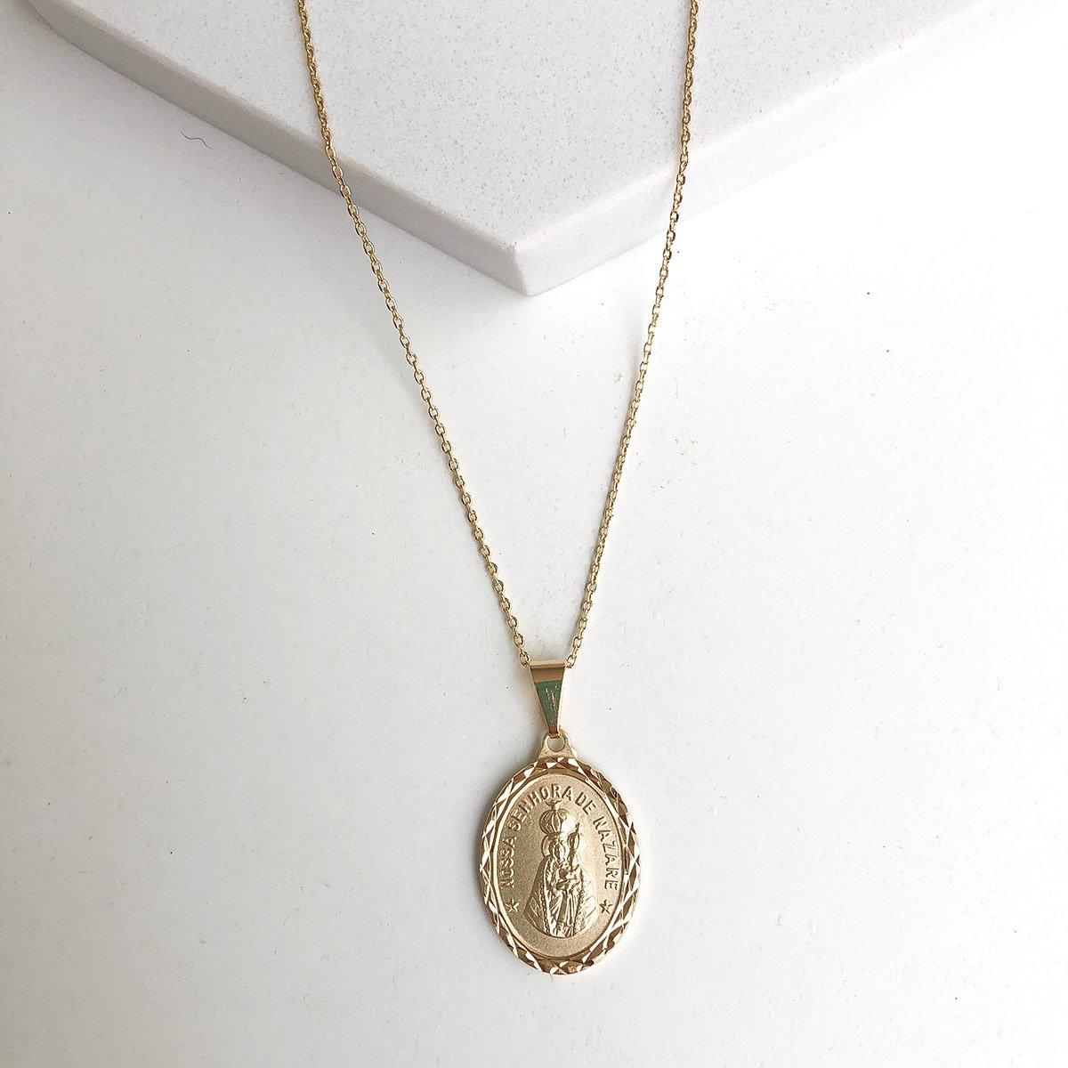 Colar Banhado a Ouro 18k Medalha Nossa Senhora de Nazaré Fosca