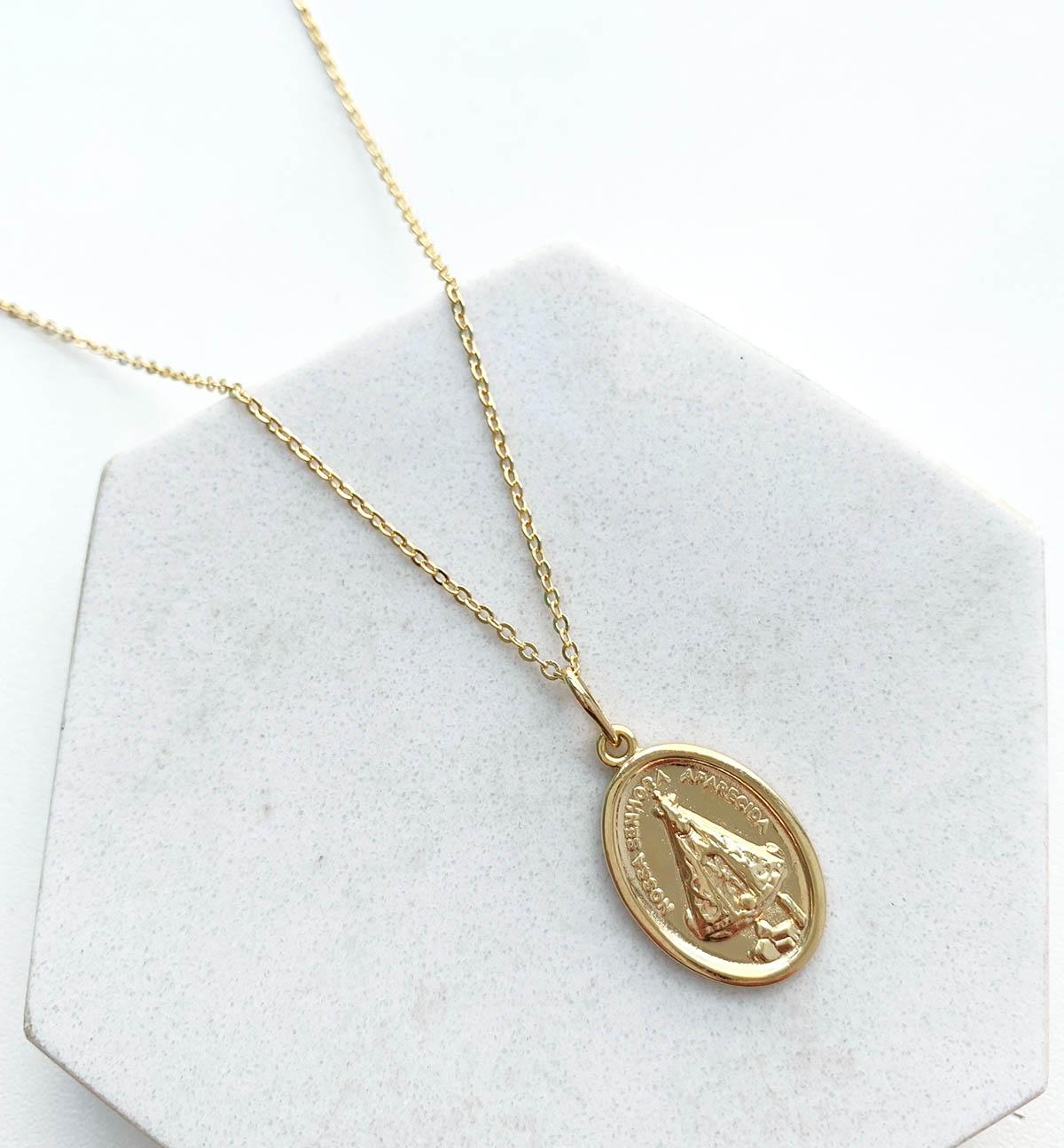 Colar Banhado a Ouro 18k Medalha Oval Nossa Senhora Aparecida