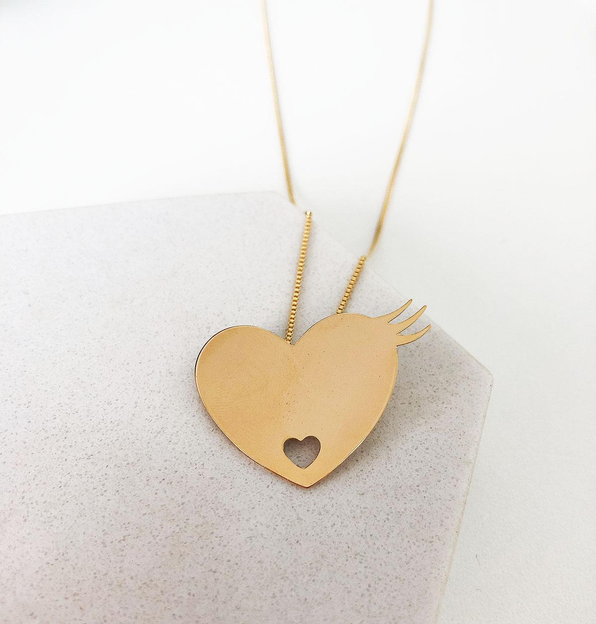 Colar Banhado a Ouro 18k Pingente Coração Chapa