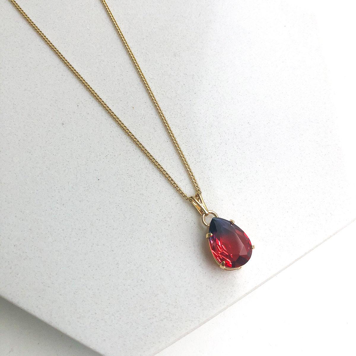 Colar Banhado a Ouro 18k Pingente Gota Rainbown Vermelho com azul Pequeno