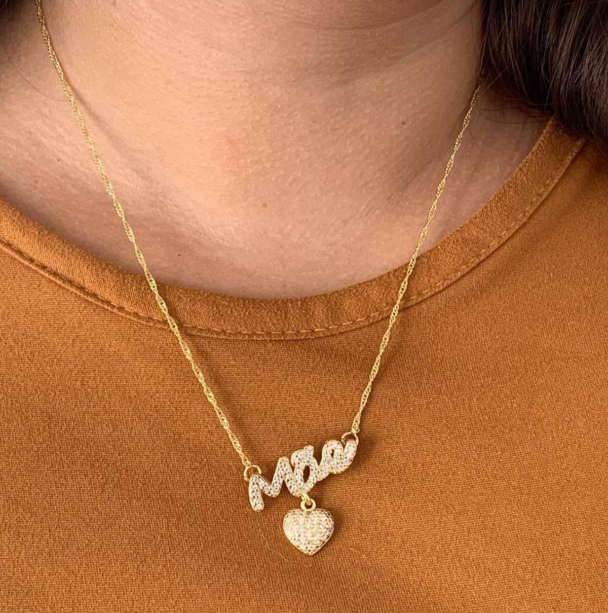 Colar Banhado a Ouro 18k Pingente Mãe e Coração Zircônias