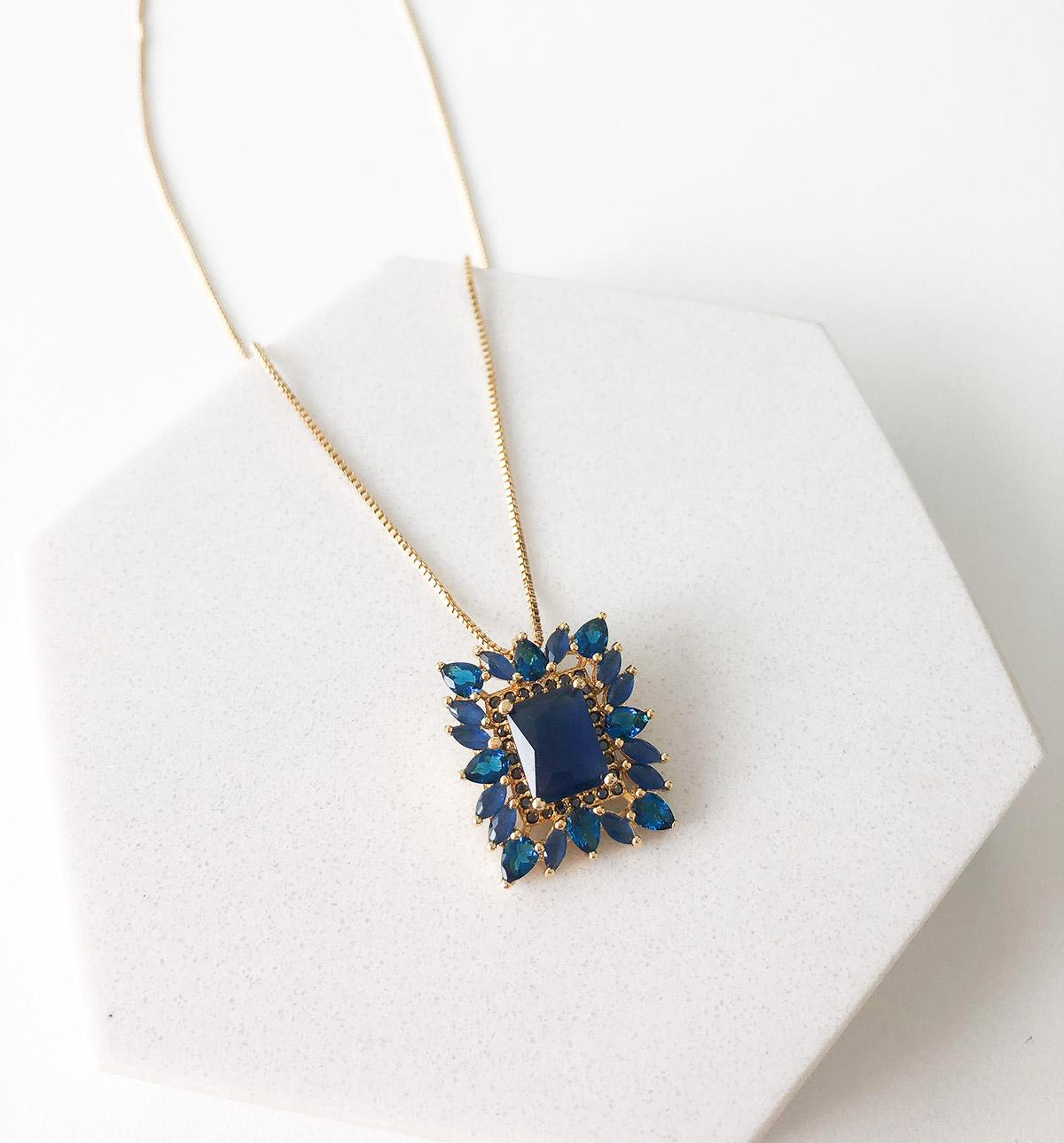 Colar Biju Pingente Quadrado Pedra Azul
