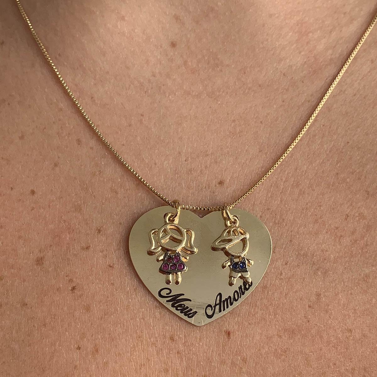 Colar Banhado a Ouro 18k Placa Coração Casal