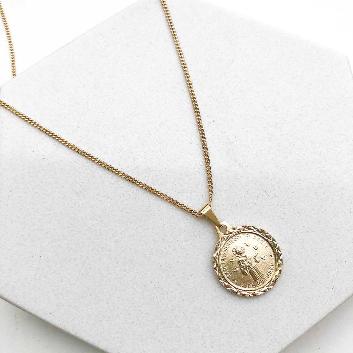 Colar Banhado a Ouro 18k São Francisco de Assis Medalha Fosca