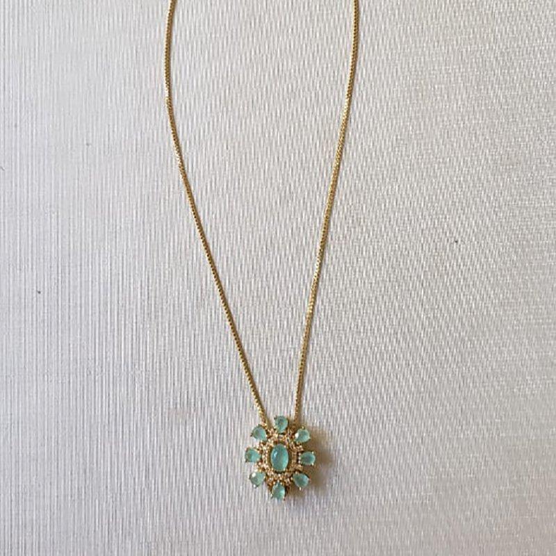 Colar Banhado a Ouro 18k Slide com Pingente Flor Zircônia e Pedra Azul