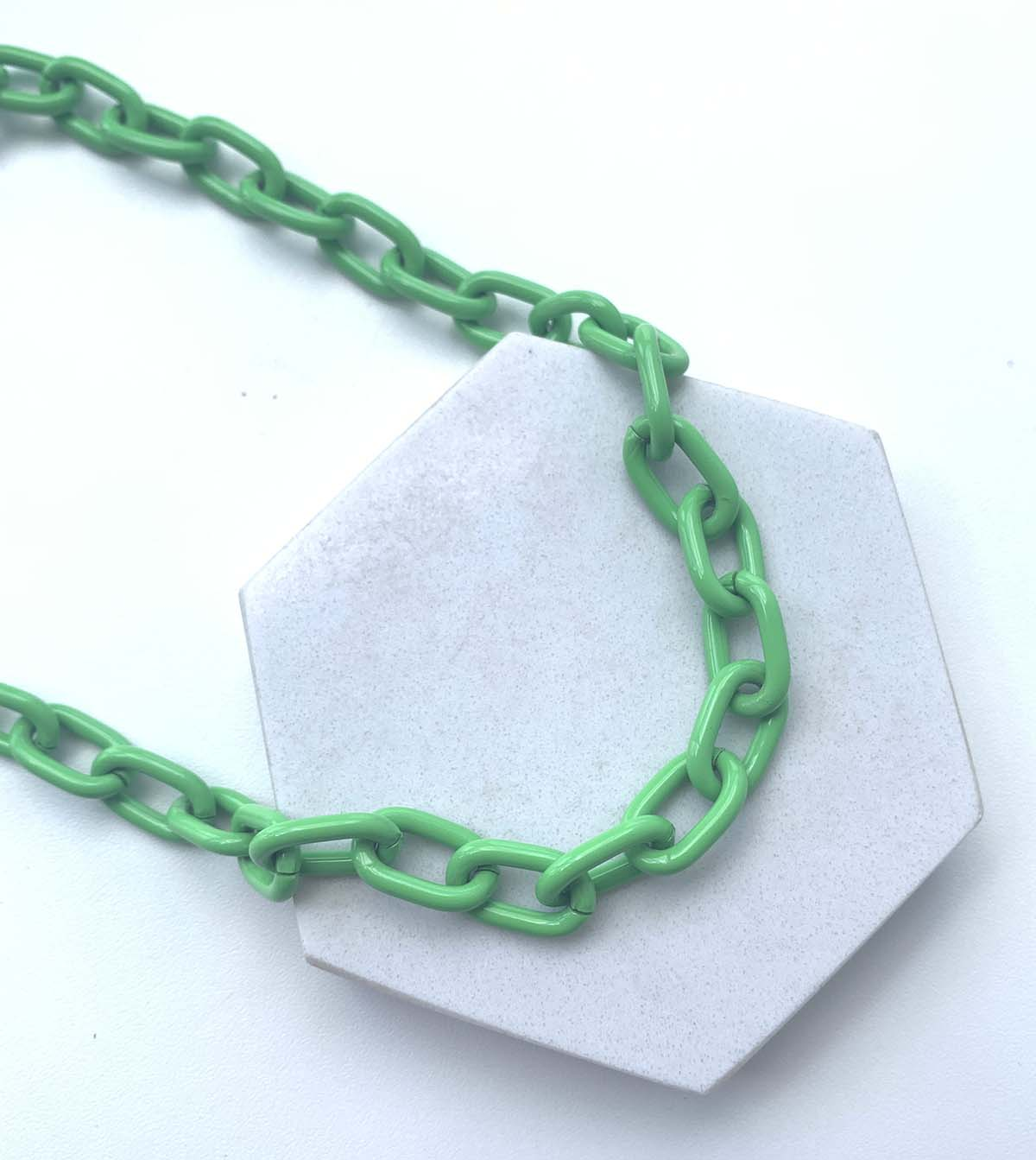 Colar Corrente Elos Verde Neon Resina
