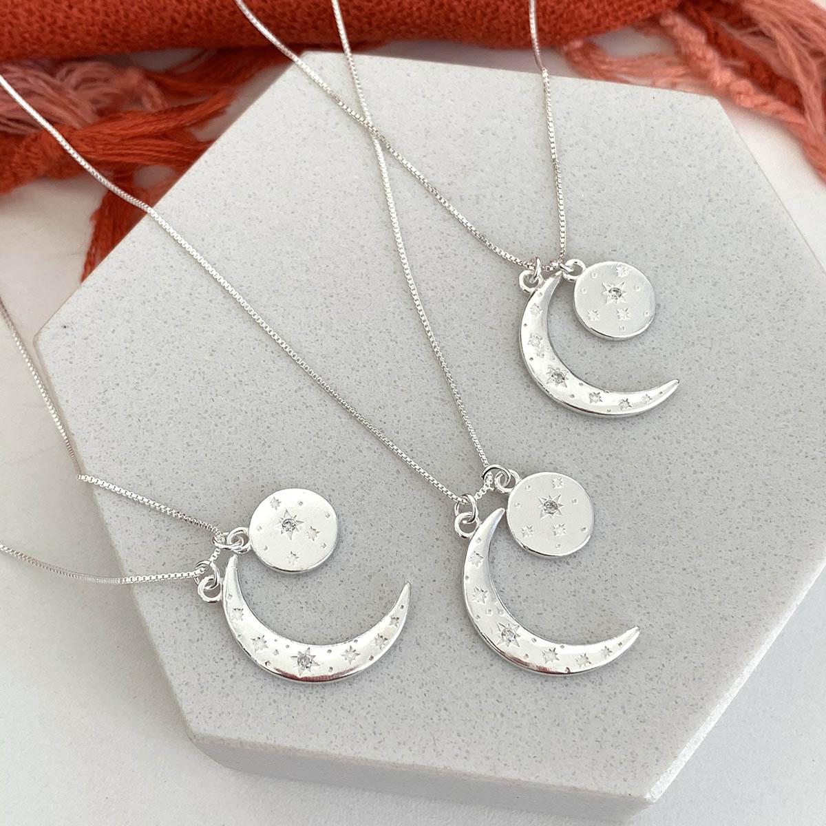 Colar de Prata 925 Pingente Lua com Estrelas Zircônia