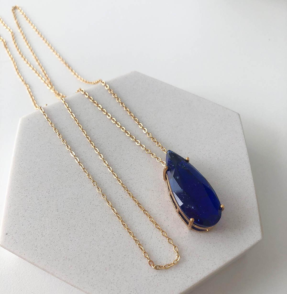 Colar Longo Banhado a Ouro 18k Pedra Gota Azul Bic