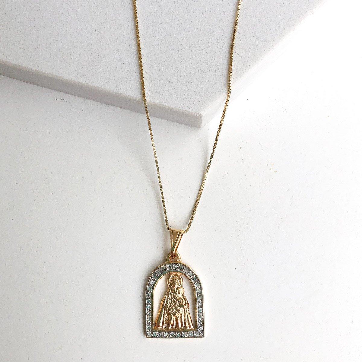 Colar Nossa Senhora de Aparecida Altar Zirônia Banhado a Ouro 18k