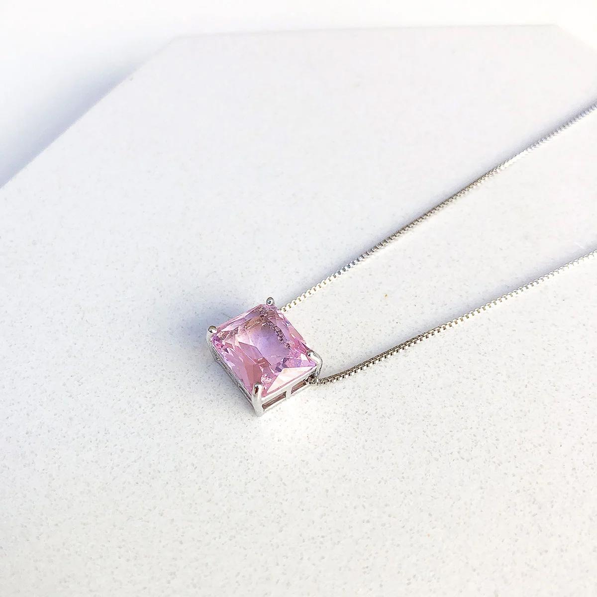Colar Pingente Quadrado Cristal Rosa Folheado A Ródio