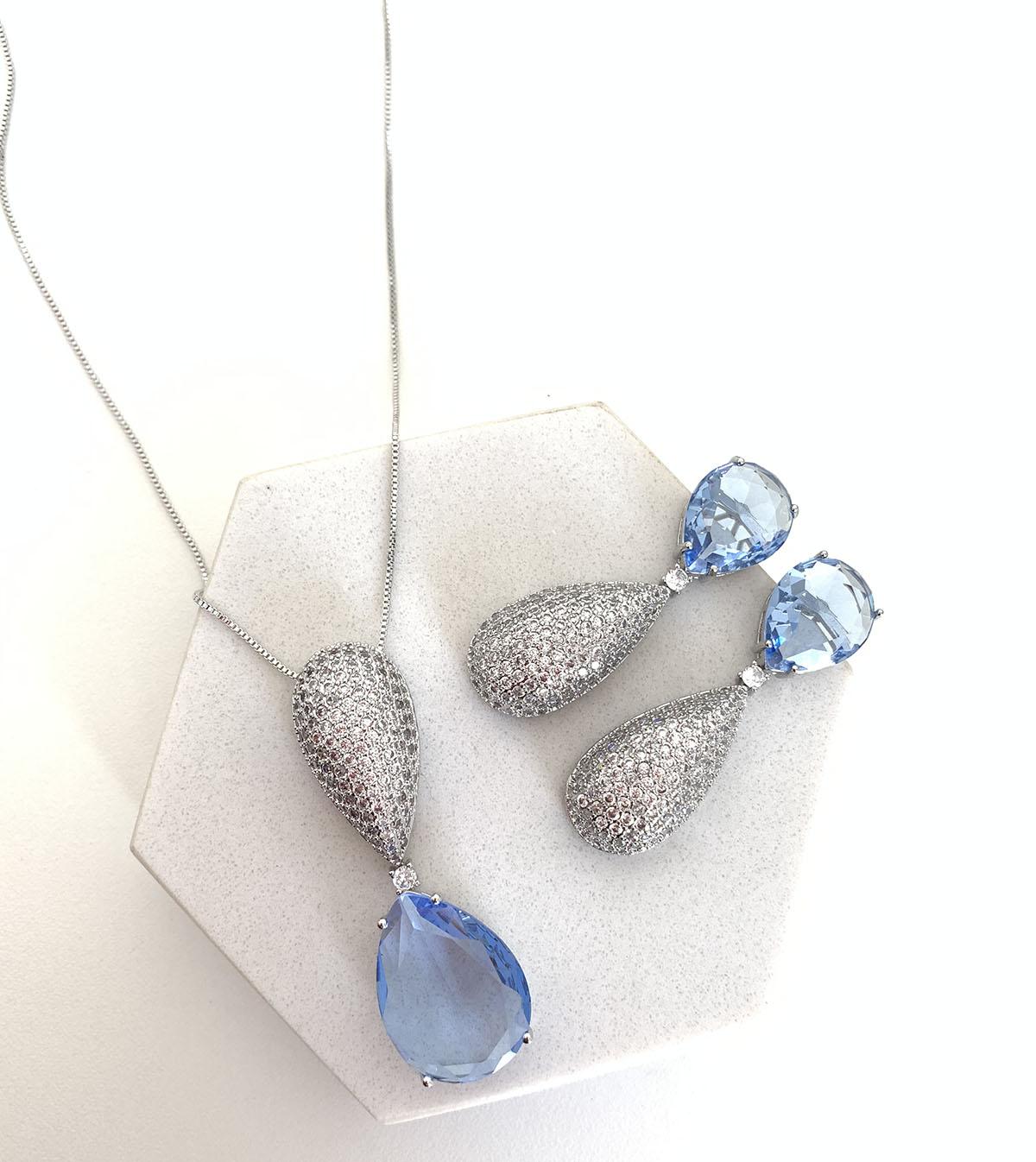 Conjunto Bijuteria Gota Cristal Azul com Strass