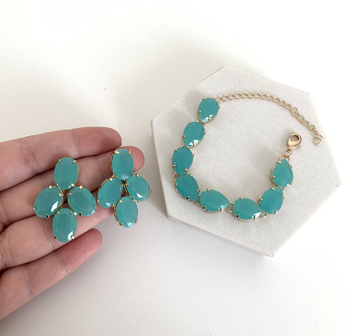 Conjunto Bijuteria Gotas Azul Turquesa