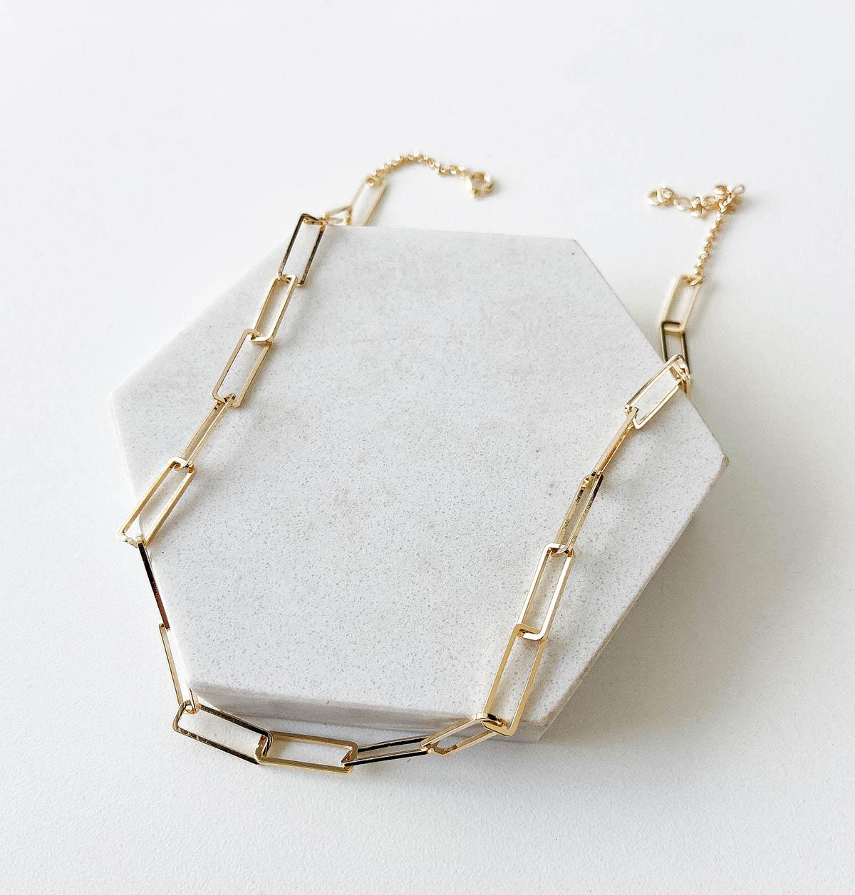 Gargantilha Leine Banhada a Ouro 18k Retângulos Vazados
