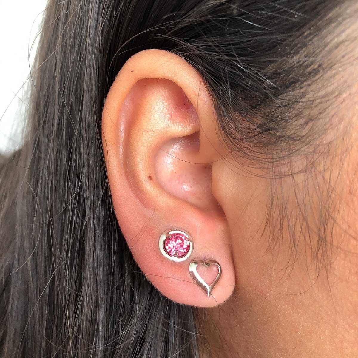 Kit Brinco 2 Pçs Folheado a Ródio Coração e Ponto de Luz Rosa