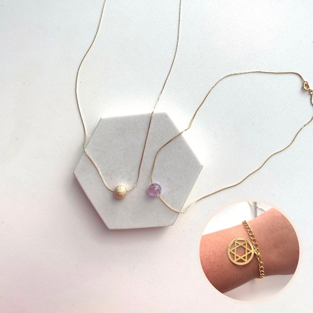 Kit Compre Colar + Colar e GANHE a Pulseira de Presente