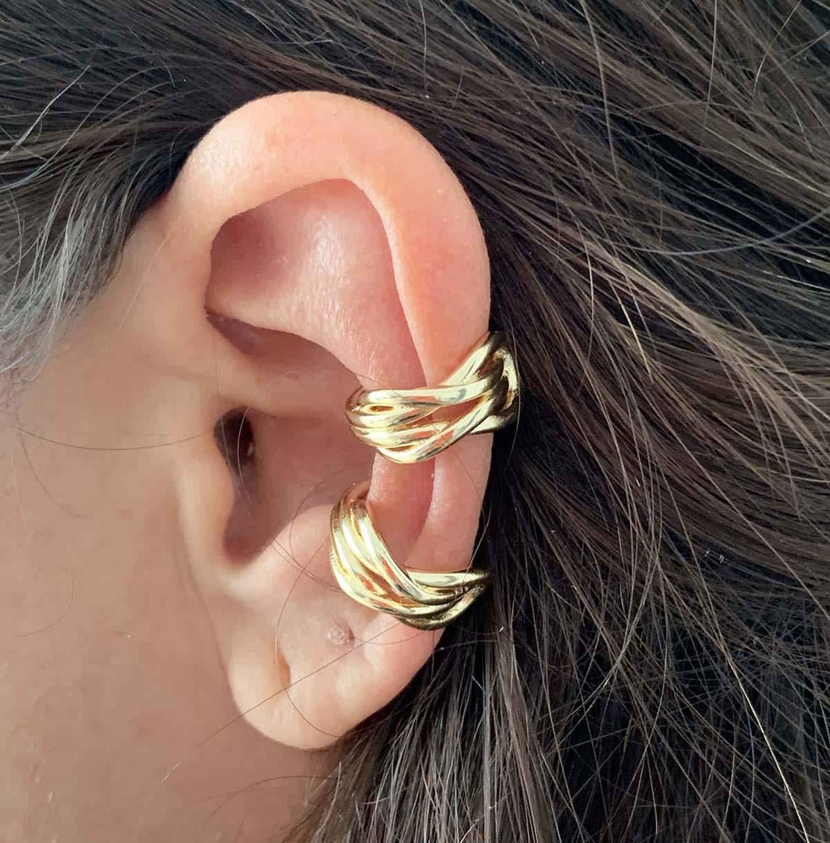 Piercing Bijuteria Dourado Fio Duplo Amarração