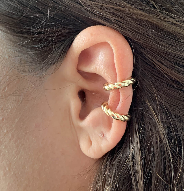 Piercing Bijuteria Dourado Fios Torcidos
