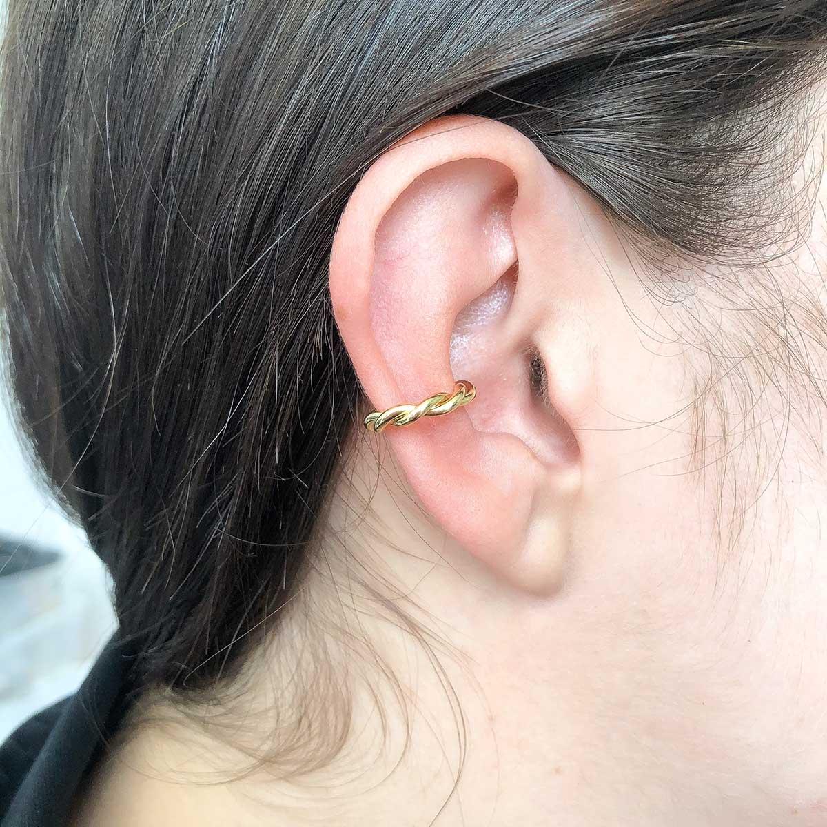 Piercing de Bijuteria Fake Fios Torcidos Dourado