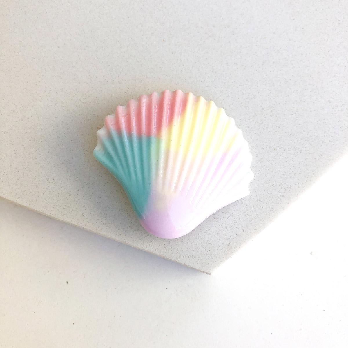 Presilha Concha Resina Colorido Tie Dye