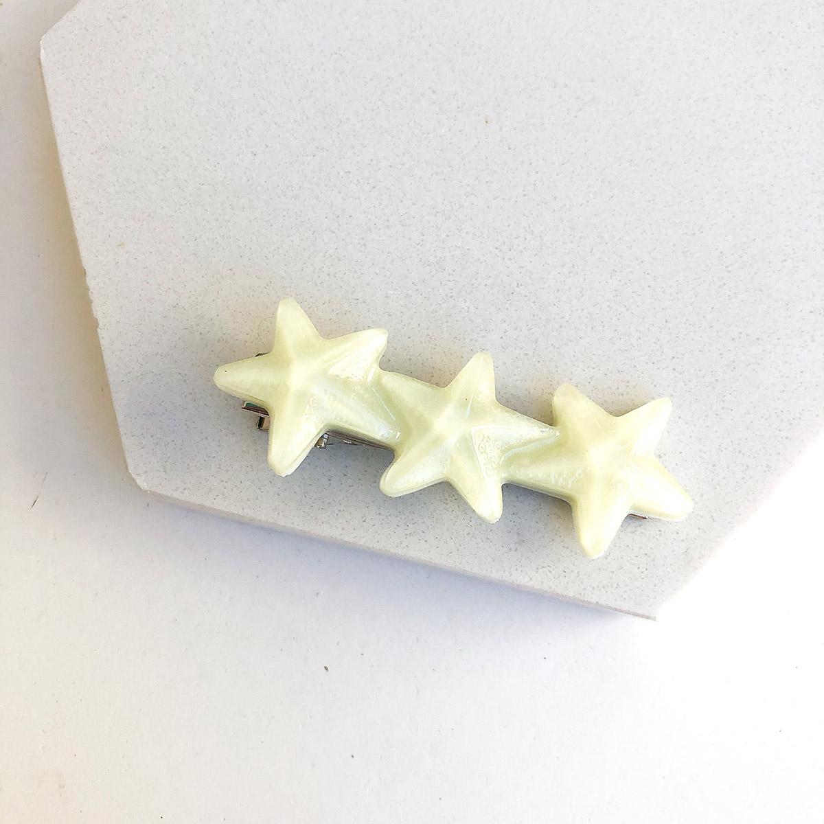 Presilha Três Estrelas Resina Amarelo