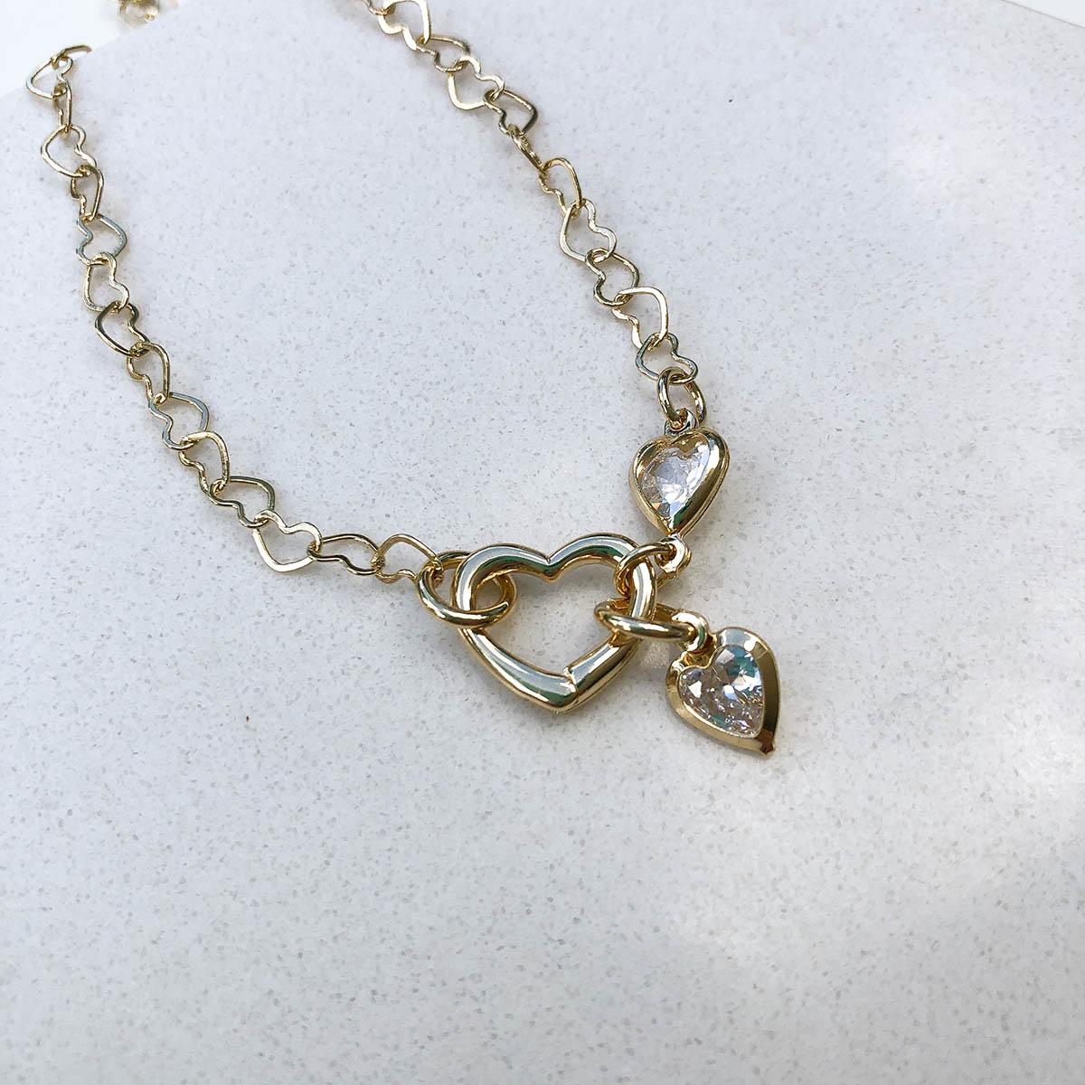 Pulseira Banhada a Ouro 18k Corrente Elos Coração e Fecho Coração Ponto de Luz