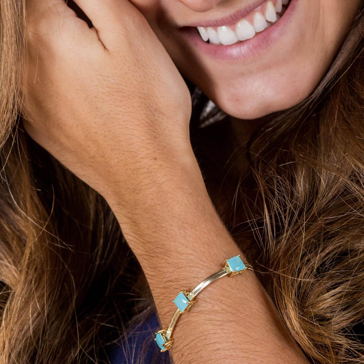 Pulseira Banhada a Ouro 18k Pedra Azul Tiffany Quadrada