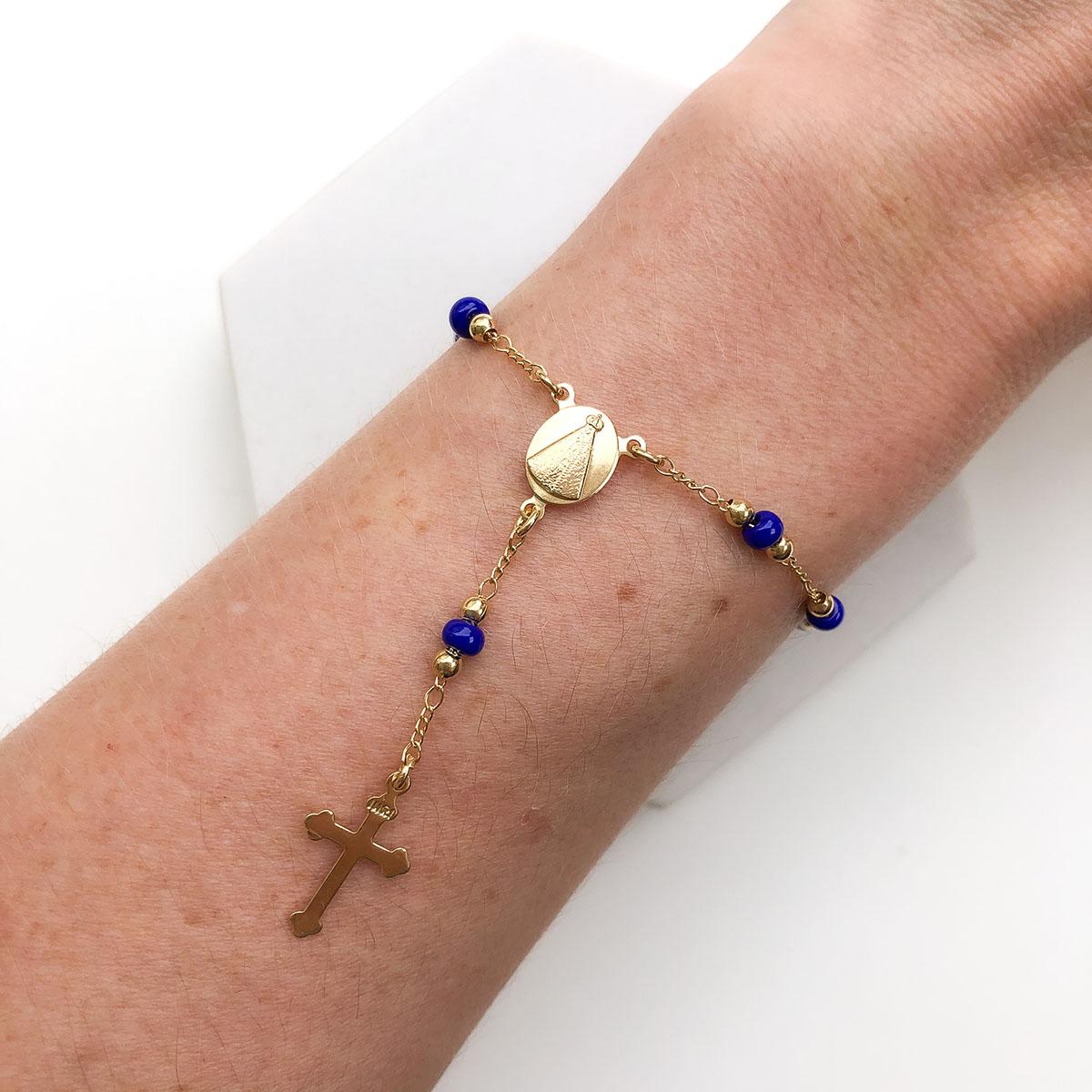 Pulseira Banhada a Ouro 18k Terço Azul Bic Medalha Nossa Senhora Aparecida