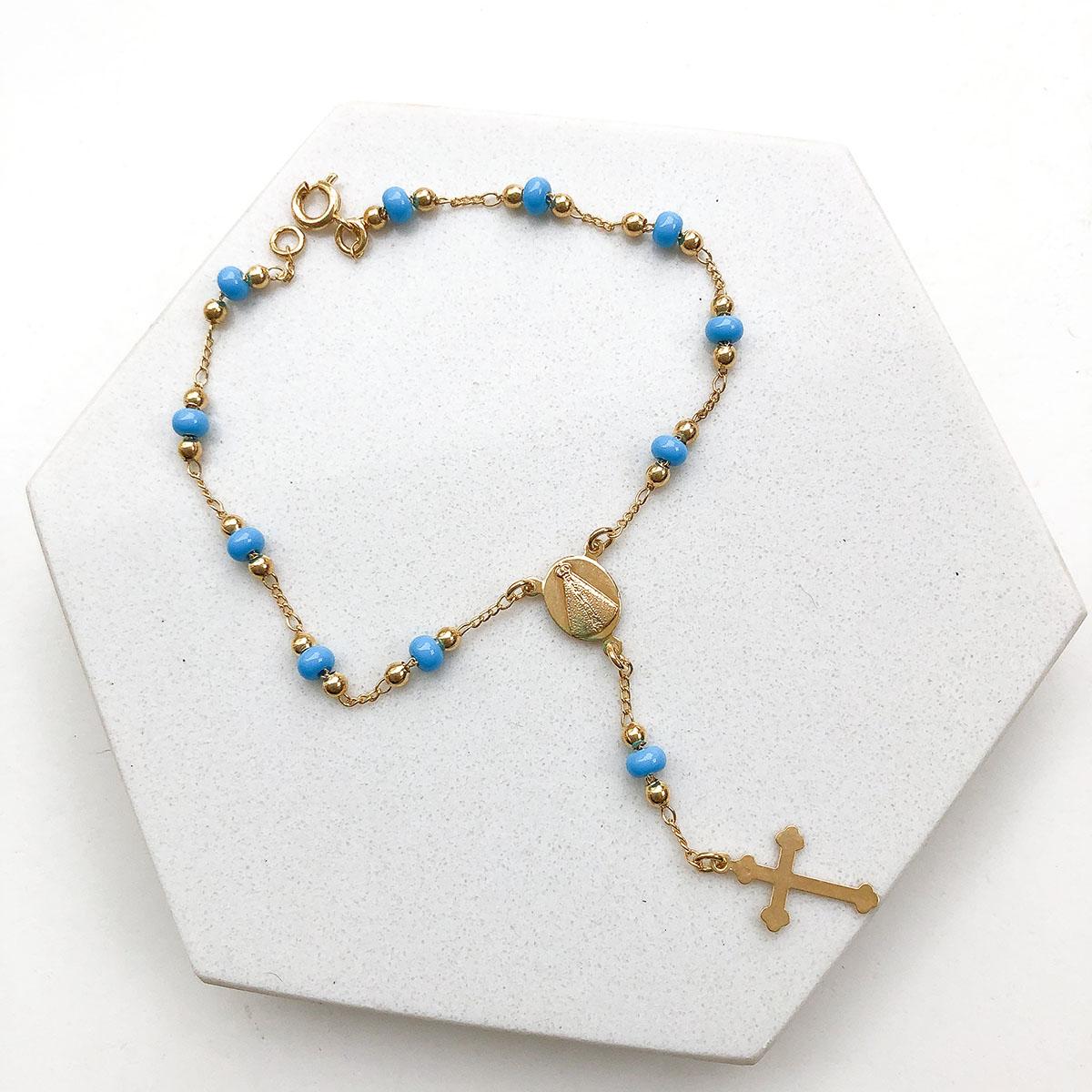 Pulseira Banhada a Ouro 18k Terço Azul Claro Medalha Nossa Senhora Aparecida