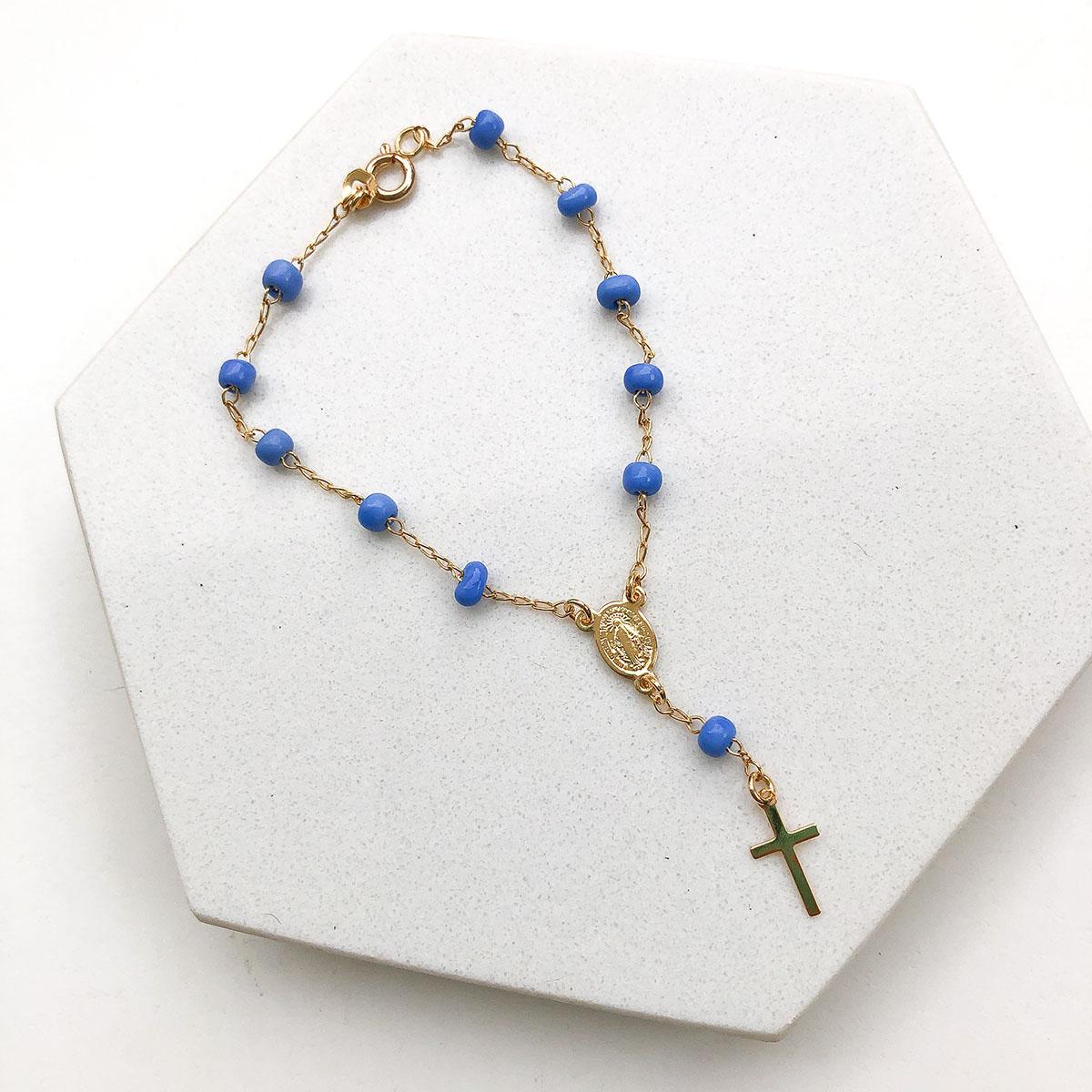 Pulseira Banhada a Ouro 18k Terço Azul Medalha Nossa Senhora das Graças
