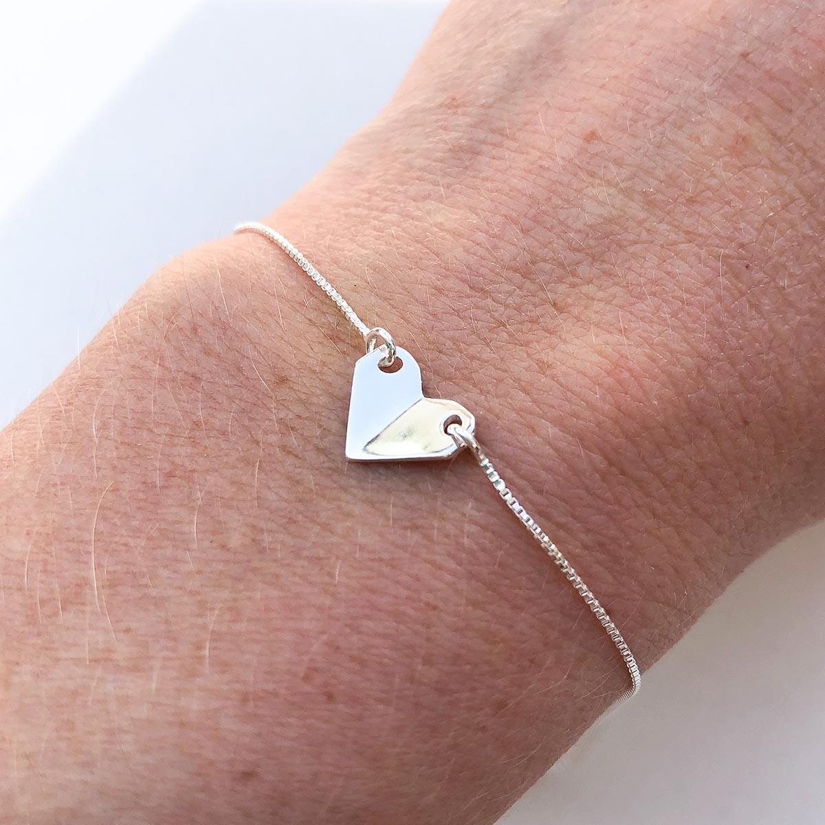 Pulseira de Prata Mini Coração Origami