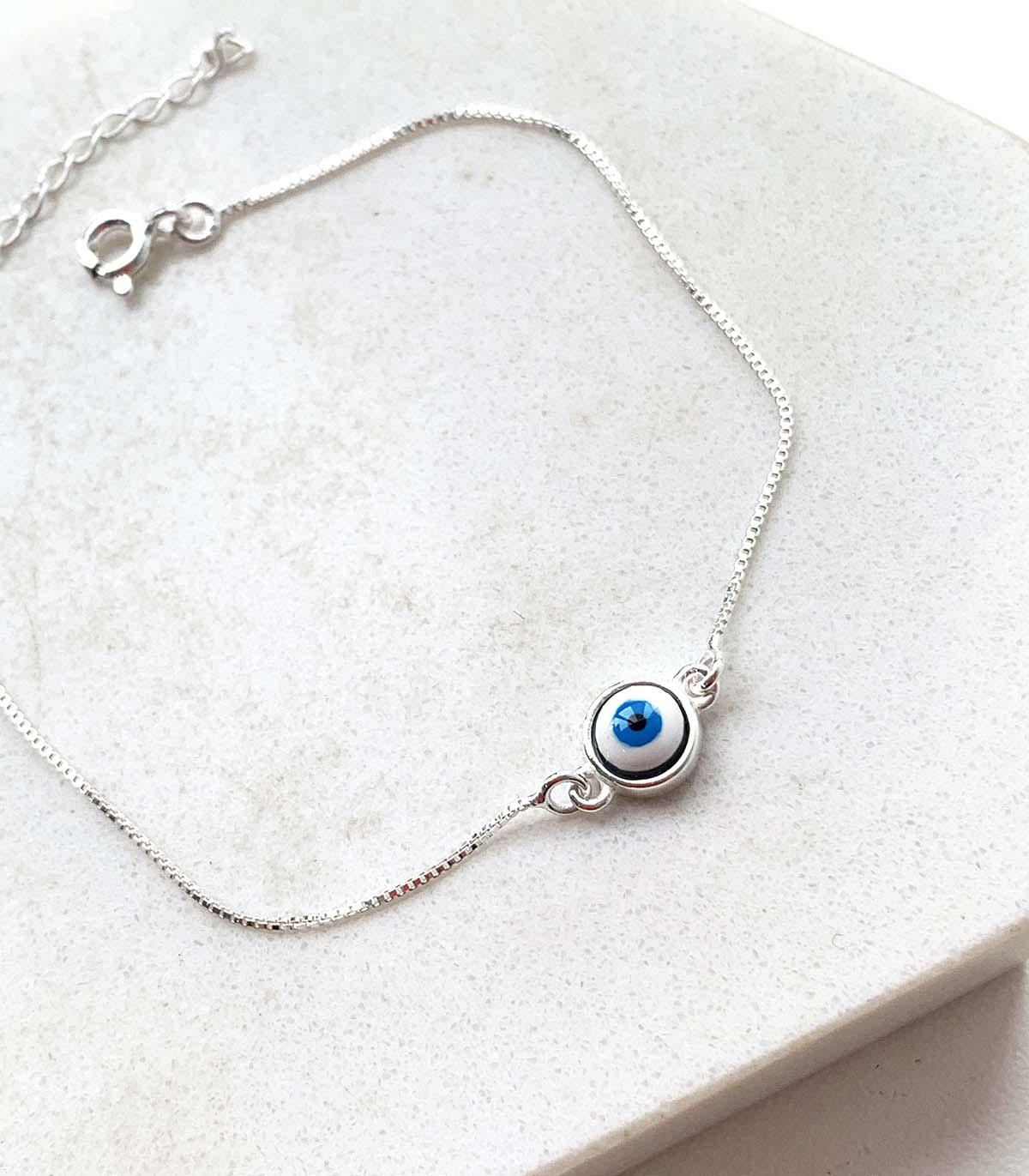 Pulseira de Prata Pingente Redondo Olho Grego Azul Escuro