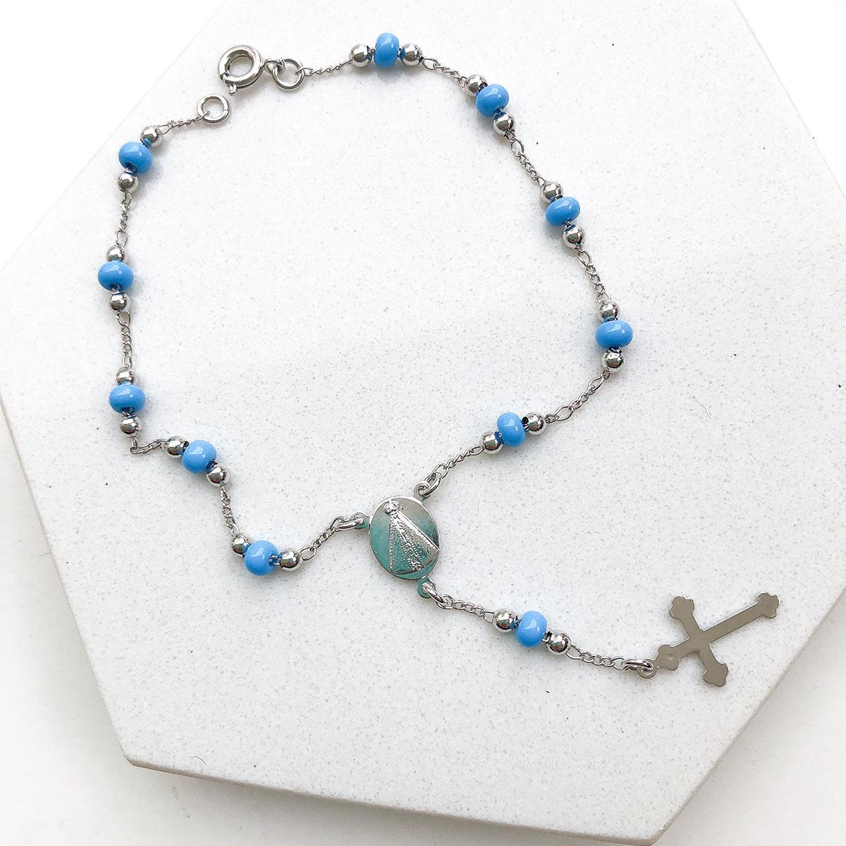 Pulseira Folheado a Ródio Terço Azul Claro Medalha Nossa Senhora Aparecida