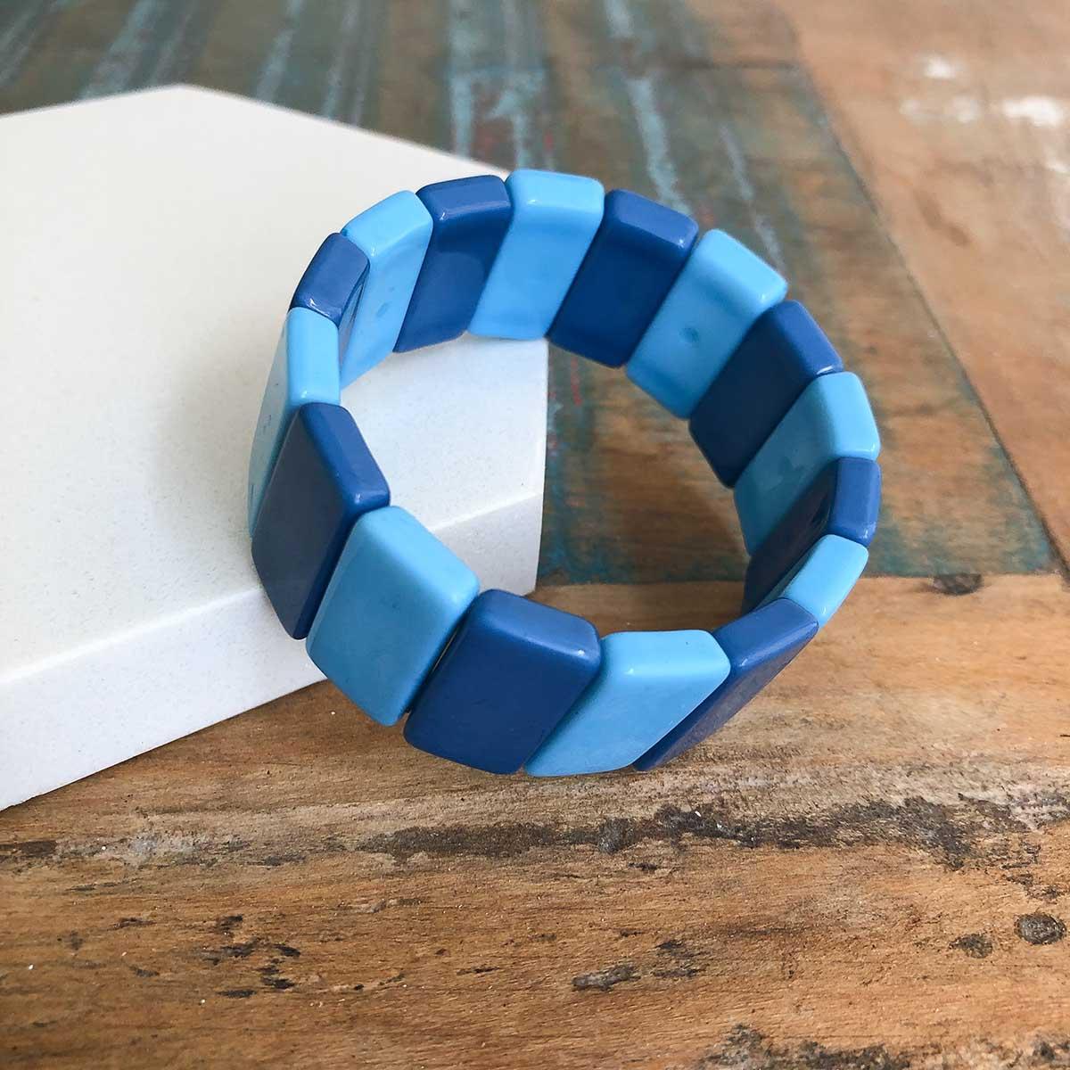 Pulseira Resina Retangular Tons de Azul de Bijuteria