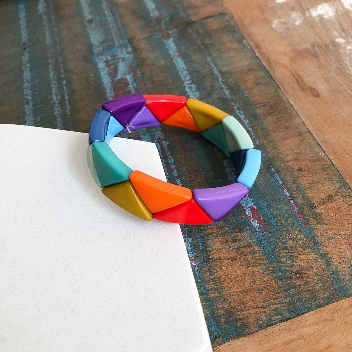 Pulseira Resina Triângulo Largo Colorido de Silicone