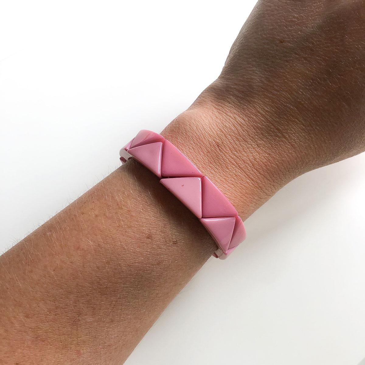 Pulseira Resina Triângulo Largo Rosa de Silicone